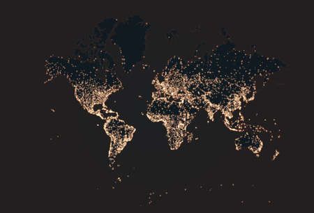 Earth night map. Vector illustration of cities lights from space