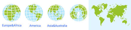 globe world icon. world map. Globe of Asia Australia, Europe, Africa, North America, South America. Vector illustration. earth map with parallels and meridians Stock Illustratie