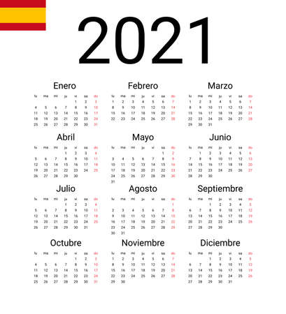 Spanish 2021 calendar. Vector design template start from monday. Full months for wall calendar