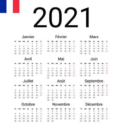 French 2021 calendar. Vector design template start from monday. Full months for wall calendar Иллюстрация