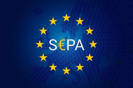 SEPA - Single Euro Payments Area. Vector illustration. Flag of Europe Union- EU