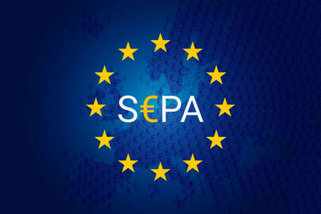 SEPA - Single Euro Payments Area. Vector illustration. Flag of Europe Union- EU