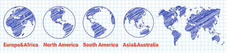 drawn globe world icon. sketch world map. Globe of Asia Australia, Europe, Africa, North America, South America. Vector illustration. earth map