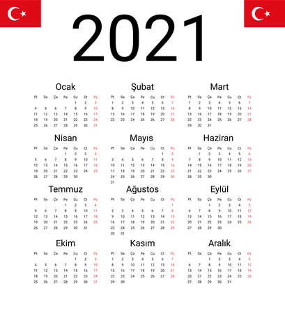 Turkish 2021 calendar. Vector design template start from monday. Full months for wall calendar