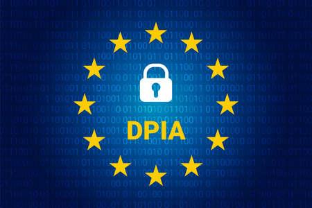 DPIA - Data Protection Impact Assessment. Vector illustration. EU flag