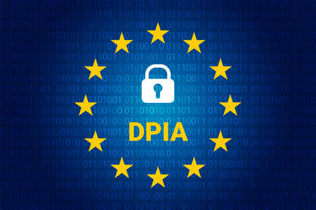 DPIA - Data Protection Impact Assessment. Vector illustration. EU flag