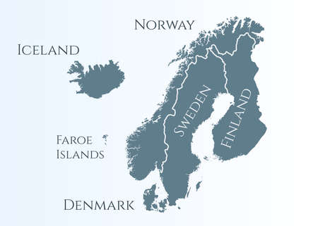 scandinavia map. Norway, Sweden, Finland, Denmark, Iceland and Faroe Islands. Nordic countries map. Vector illustration for infographics