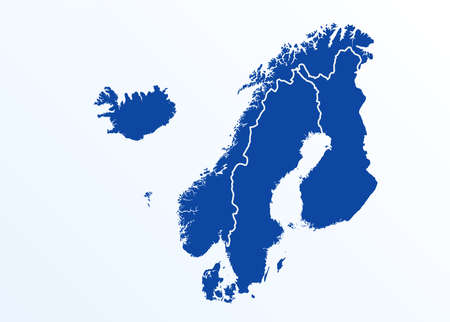 scandinavia map. Norway, Sweden, Finland, Denmark, Iceland and Faroe Islands. Nordic countries map. Vector illustration for infographics Иллюстрация