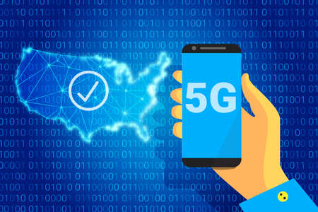5G network - next generation wireless internet connection. 5g text on background of a USA map. vector illustration. Phone in hand. Фото со стока