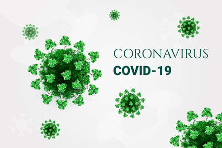 Green coronavirus background. virus 3d model. Covid-19 pathogen. Vector icon