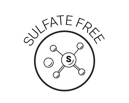 Free sulfate icon. chemical model sls. vector sign. back and white badge 일러스트