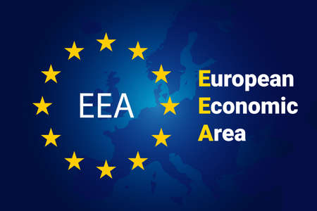 European Economic Area - EEA. European Union flag and map of Europe. Vector background 일러스트