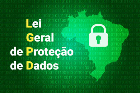 LGPD - Brazilian Data Protection Authority DPA, rights under the Lei Geral de Prote o de Dados - Spanish . Vector background with lock and map of Brazil 일러스트
