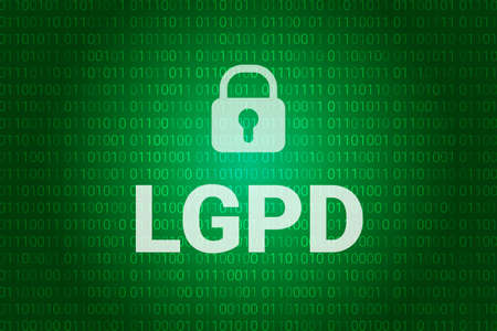 LGPD - Brazilian Data Protection Authority DPA, rights under the Lei Geral de Prote o de Dados - Spanish . Vector background with lock