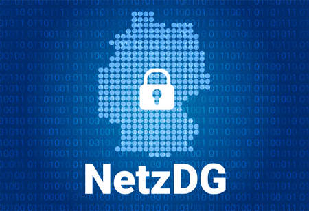 Network Enforcement Act. NetzDG in Germany. Blue map of Germany on a blue background with a binary code. Vector background
