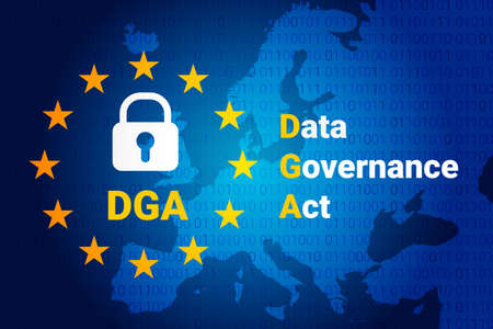 Data Governance Act - DGA. Vector illustrarion background