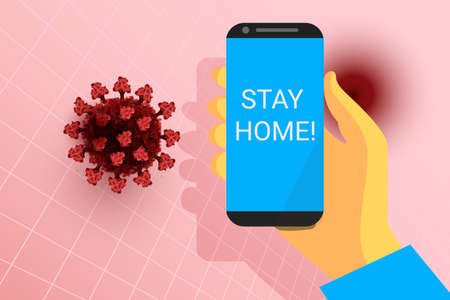Stay home alert. Mobile phone in hand. Red coronavirus on skin color background. virus 3d model. Covid-19 pathogen icon. Vector sign 일러스트
