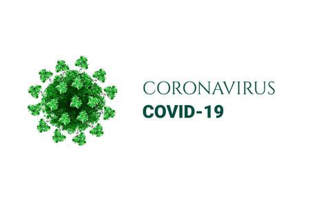 Green coronavirus on white background. virus 3d model. Covid-19 pathogen icon. Vector sign