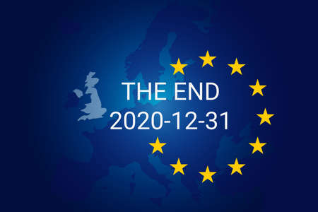 Brexit is the withdrawal of the United Kingdom UK from the European Union EU. Transition period end 2020 12 31. Vector background illustration