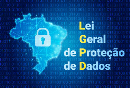 LGPD - Brazilian Data Protection Authority DPA, rights under the Lei Geral de Prote o de Dados - Spanish . Vector background with lock and map of Brazil Illusztráció
