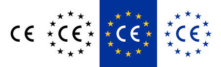 CE standard mark. Icon for products sold within the European Economic Area - EEA. Europe Union color, flag, stars sign. Vector CE European Conformity . Blue background graphic Illusztráció