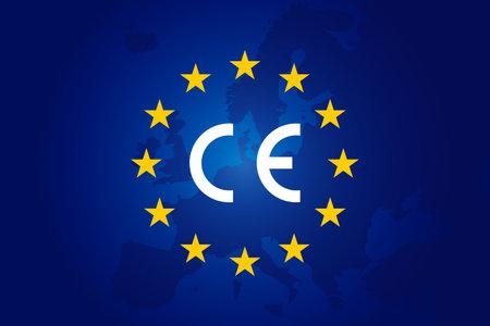 CE standard mark on Europe Union flag