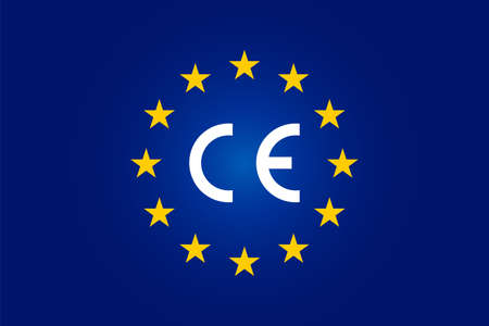 CE standard mark. Icon for products sold within the European Economic Area - EEA. Europe Union color, flag, stars sign. Vector CE European Conformity - logo. Blue background graphic