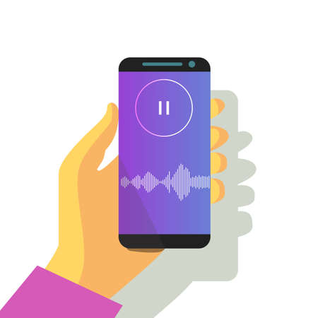 mobile phone in hand sound waveform pattern for music player, podcasts, video editor, voise message in social media chats, voice assistant, recorder. vector illustration