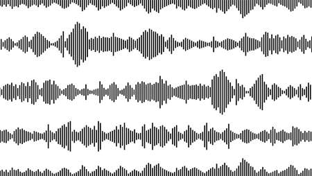 seamless sound waveform pattern for music player, podcasts, video editor, voise message in social media chats, voice assistant, dictaphone. vector illustration Illusztráció