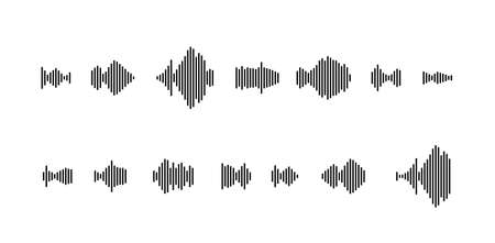 sound waveform icon for music player, podcasts, video editor, voice message in social media chats, voice assistant, Dictaphone Illusztráció