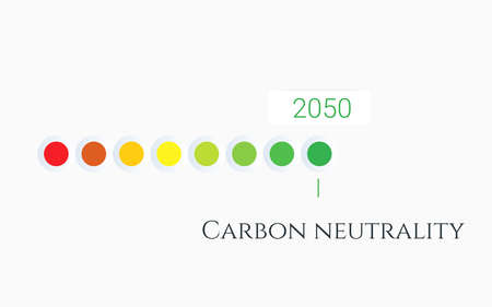 Carbon neutrality by 2050. Free neutral CO2 background. zero carbon emissions. Vector illustration concept