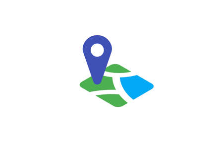 map location icon with pin. navigation place pictogram. vector illustration icon