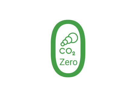 Free neutral CO2 icon. Green carbon neutrality sign. zero carbon emissions label.