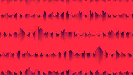 seamless sound waveform pattern for music player, podcasts, video editor, voise message in social media chats, voice assistant, dictaphone. vector illustration 矢量图像