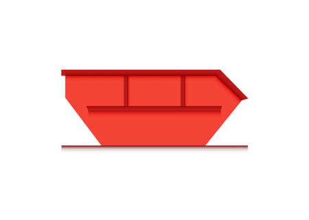 skip bin is a large open-topped waste container. red skip vector icon illustration