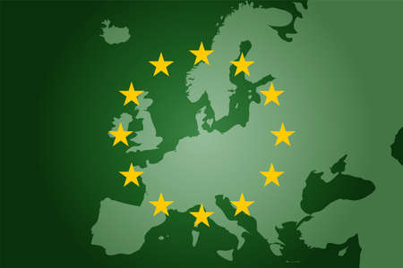 green EU map and flag background. Vector illustration concept