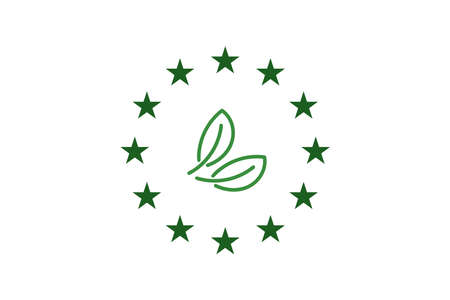 green leaf and Europe Union- EU stars. Vector ecology icon concept