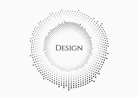 Black halftone circle for advertising, logo or printed products, packaging. black semitone dots pattern. vector background