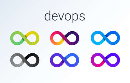 DevOps icon. software development - Dev and IT operations - Ops . loop eight logo for software technology companies. vector gradient icon illustration 矢量图像
