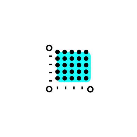 icon plot area in acres, square meters, kilometers. Vector dimension area size icon