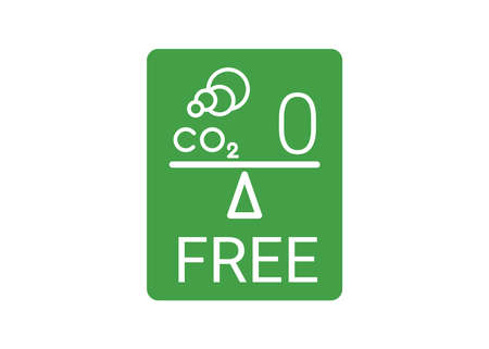 Free neutral CO2 icon. Green carbon neutrality sign. zero carbon emissions label. Vector illustration stamp 矢量图像