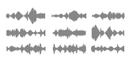 sound waveform pattern for music player, podcasts, video editor, voice message in social media chats, voice assistant, dictaphone. vector illustration element Illusztráció