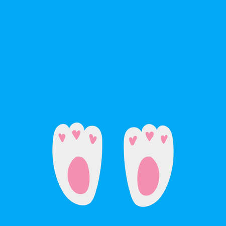 rabbit footprints icon on blue background. vector easter bunny foot