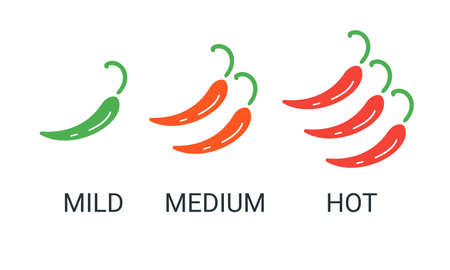Red chili peppers icon.  mexican restaurant. Mild, medium, hot spicy food. Vector illustration