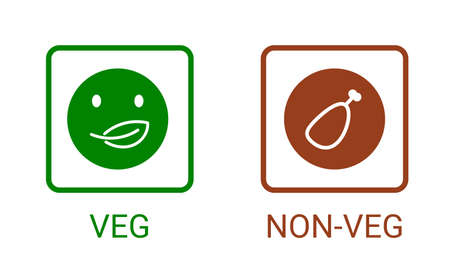 Veg, non-veg - Vegetarian and non-vegetarian marks in India, Sri Lanka, Pakistan. Green sign for packaged food and toothpaste products. Food icon symbol