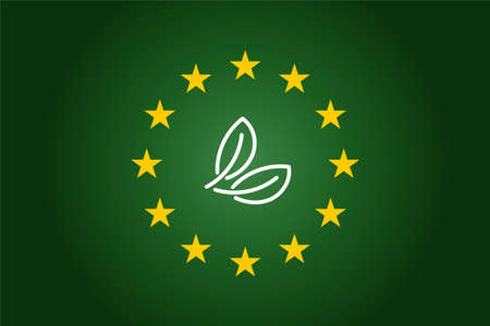 green leaf and Europe Union- EU flag background. Vector ecology concept