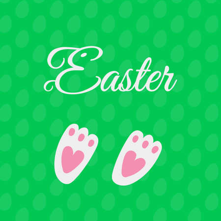 rabbit footprints icon on green background. vector easter card with bunny foot with hearts