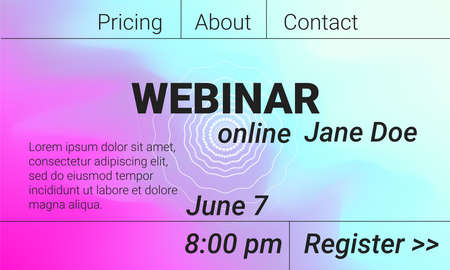 Online webinar landing page. Abstract conference poster. Bright gradient colors for workshop or seminar. Vector background for learning event in brutal design style 矢量图像
