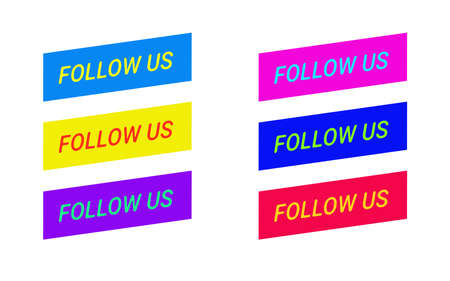 Follow us icon. Bright button for social media. vector illustration promotion