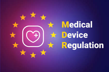 MDR - Medical Device Regulation. Regulation of the EU- European Union on the clinical investigation and sale of medical devices for human use. Vector illustration on blue background
